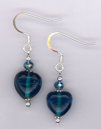 Whimsy Heart Blue ~ Crystal Lampwork Earrings
