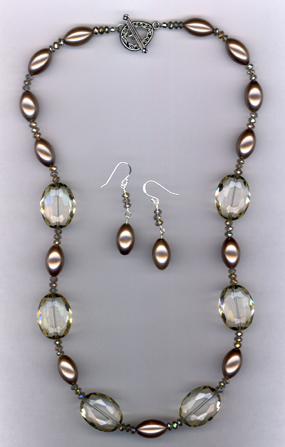 Champagne Crystal Pearl Necklace/Earring Set