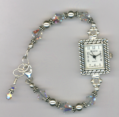 Silver Sparkle ~ Swarovski crystal Beaded Watch
