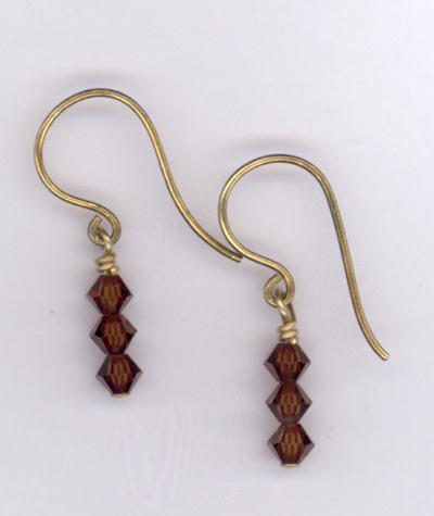 Mocha ~ Swarovski Crystal Gold Earrings
