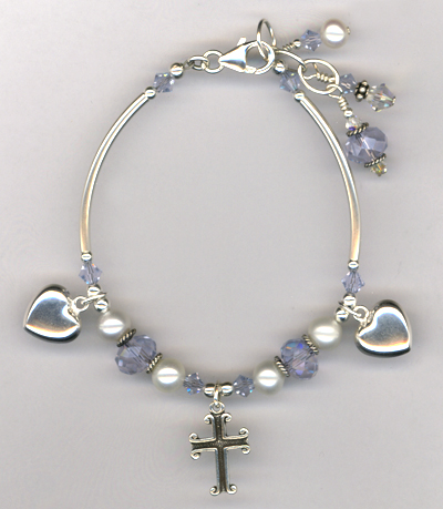 Remember Mom ~ Swarovski Crystal Pearl Charm Bracelet