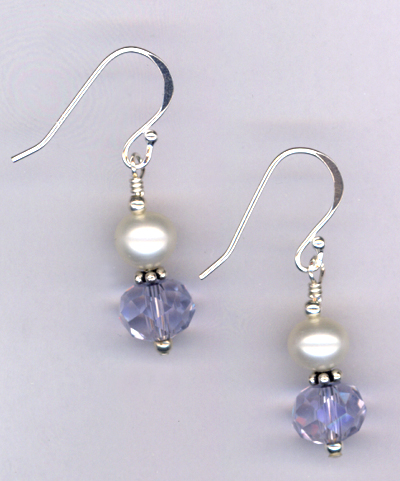 Remember Mom ~ Crystal Pearl Sterling Earrings