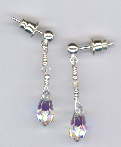 Silver Crystal Sparkle ~ Beaded Swarovski Crystal Post Earrings