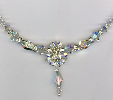 Swarovski Crystal Bridal Custom Necklace Close up