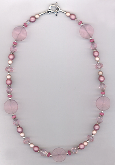 Pastel Pretty Pink ~ Crystal Beaded Necklace