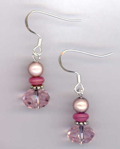 Pastel Pretty Pink ~ Crystal Beaded Earrings