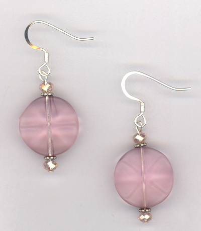 Pastel Pretty Pink ~ Crystal Wavy Earrings