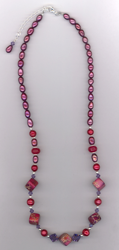 Ruby Slippers ~ Gemstone Pearl  Necklace