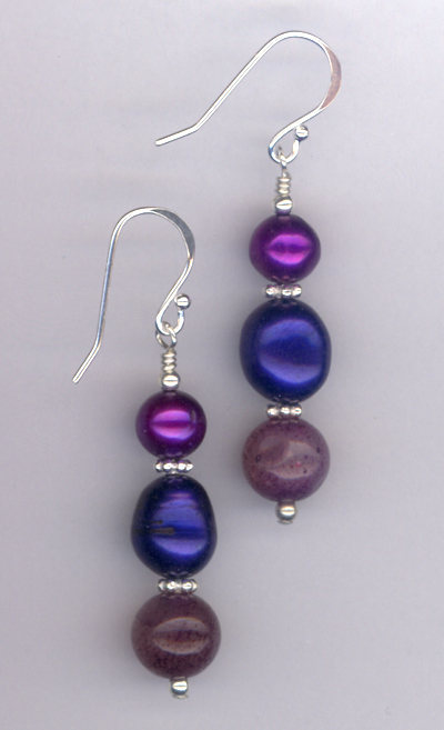 Windsor Violet ~ Gemstone Pearl Crystal Earrings