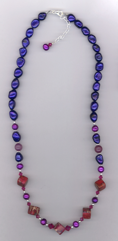 Windsor Violet ~ Gemstone Pearl Crystal Necklace