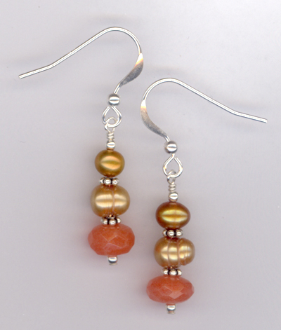Pastel Pretty Peach ~ Gemstone Pearl Crystal Earrings