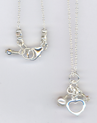 Be MIne ~ Sterling Silver Pealr Crystal Heart Charm Necklace