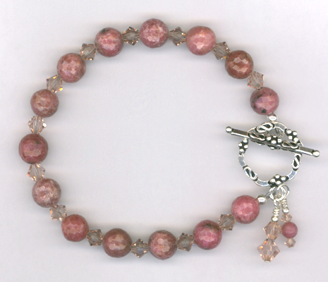Vintage Rose ~ Gemstone Swarovski Crystal Toggle Bracelet