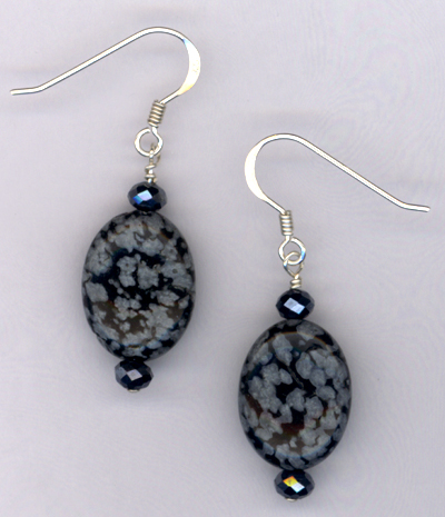 Obsidian Gemstone Crystal Sterling Silver Earrings