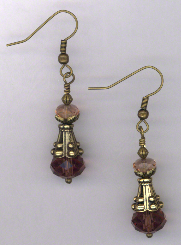Fair Maiden ~ Amethyst Pink Crystal Gold Earrings