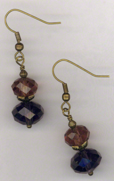 Golden Butterfly ~ Gemstone Amethyst Crystal Earrings