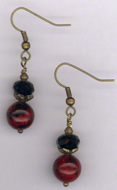 Antique Gold Red Chrysocolla Jet Crystal Earrings