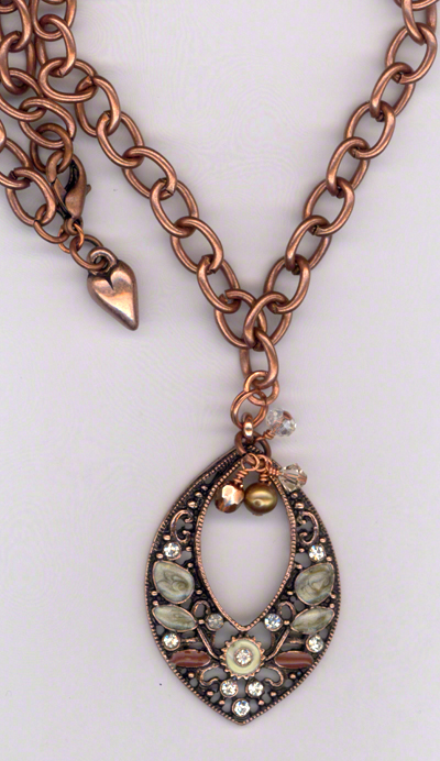 Melody Pink Copper ~ Crystal Pearl Copper Necklace