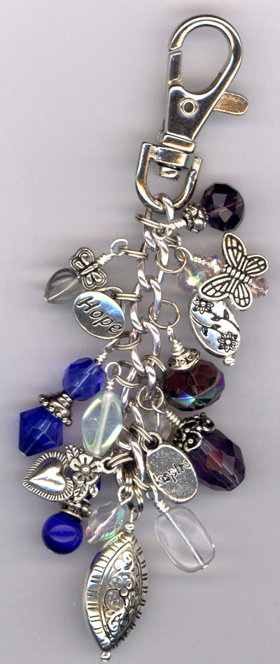 Purple Blue Purse Charm