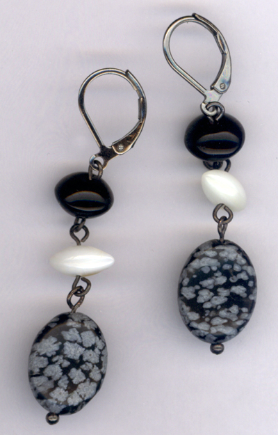 Black and White ~ Gemstone Pearl Crystal Triple Dangle Earrings