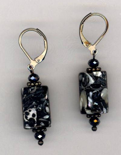 Black and White ~ Pearl Crystal Gunmetal Earrings