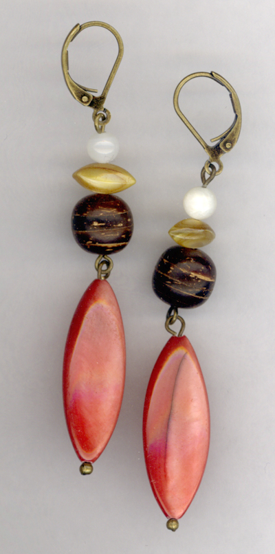 Bohemian Nights ~ Pearl Wood Antiqued Gold Layered Earrings