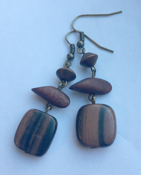 wooden brass triple dangle earrings