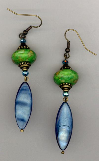 Green Mosaic Turquoise Blue Shell Crystal earrings