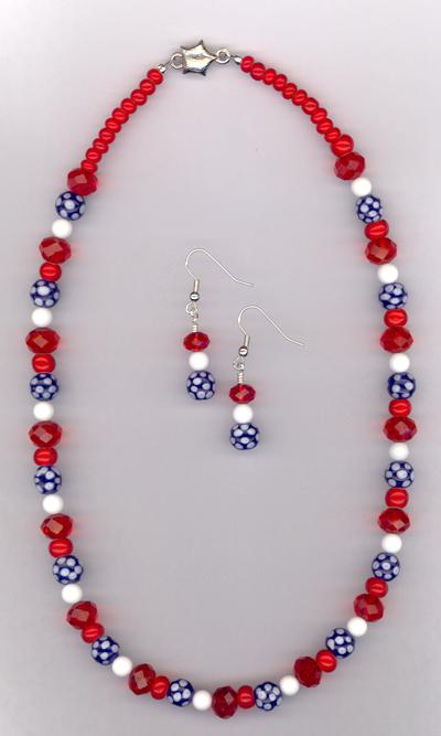 Americana ~ Red White Blue Whimsical Necklace/Earring Set