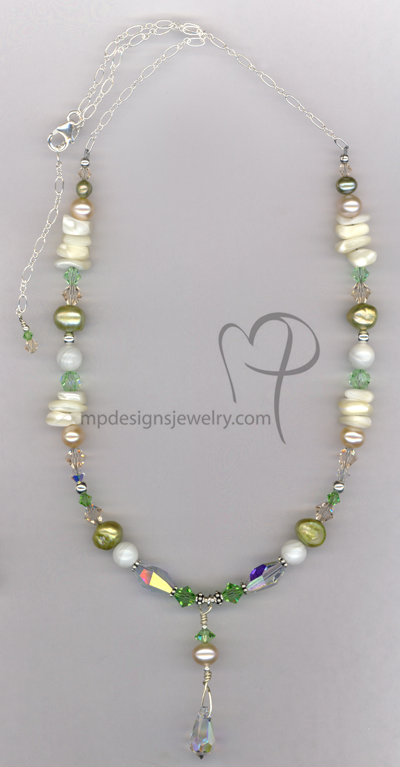 Summer Breeze ~ Pearl Crystal Beaded Necklace