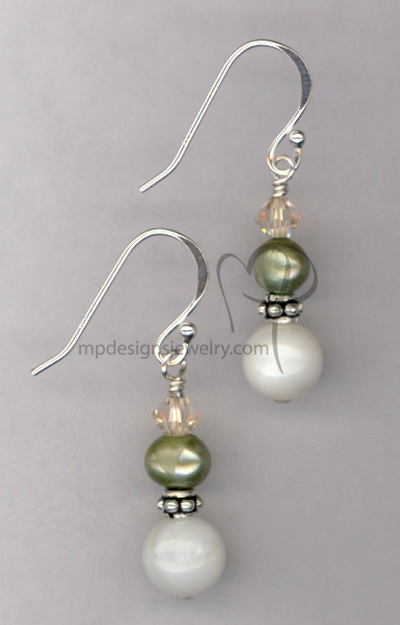Summer Breeze ~ Pearl Crystal Beaded Earrings