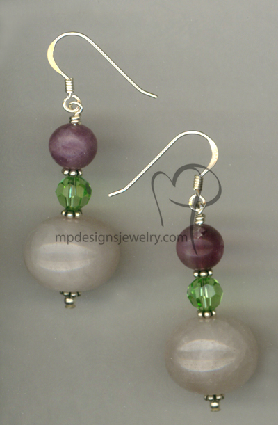 Rhubarb Rose ~ Gemstone Sterling Silver Earrings