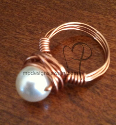 Swarovski Pearl Copper Wire-wrapped Ring