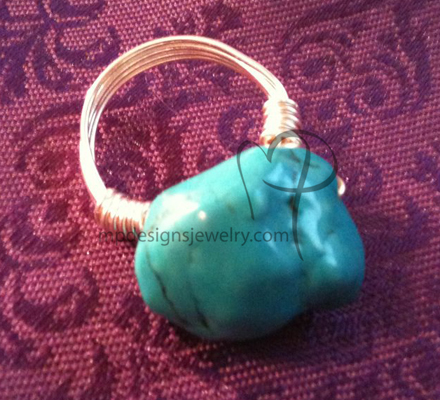 Turquoise Nugget Silver Wire-wrapped Ring
