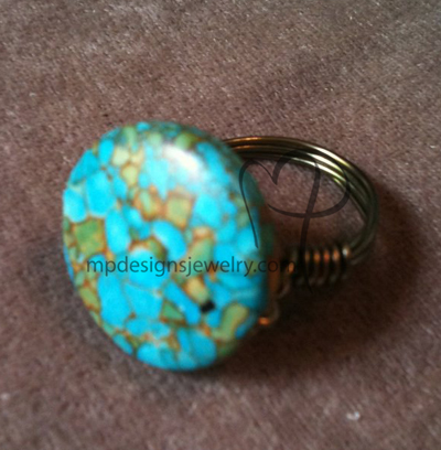 Blue Mosaic Turquoise Gun Metal Wire-wrapped Ring