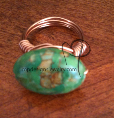 Green Mosaic Turquoise Copper Wire-wrapped Ring
