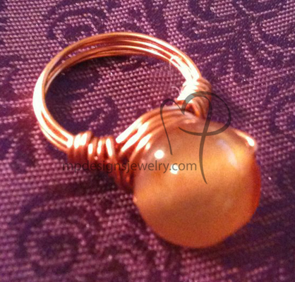 Carnelian Gemstone Copper Wire-wrapped Ring