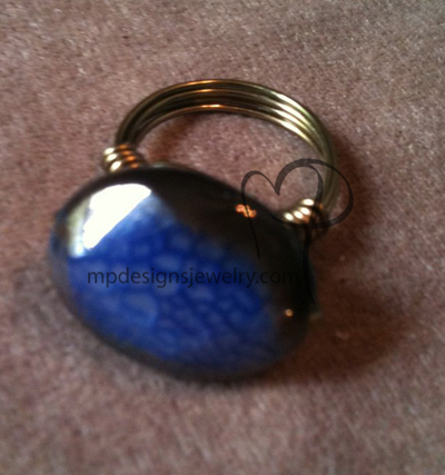 Blue Agate Gun Metal Wire-wrapped Ring