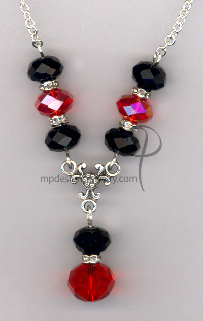 Black Red Crystal Necklace Jewelry