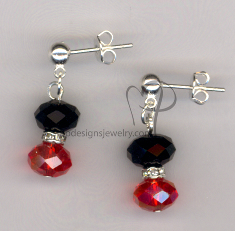 Black Red Crystal Earrings Jewelry