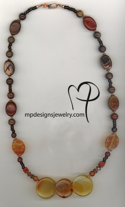 Fall Beauty ~ Carnelian Gemstone  Copper necklace