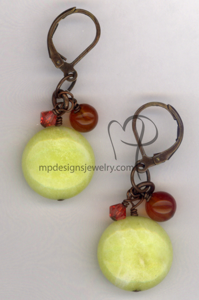 Lime Salsa Gemstone Copper Earrings