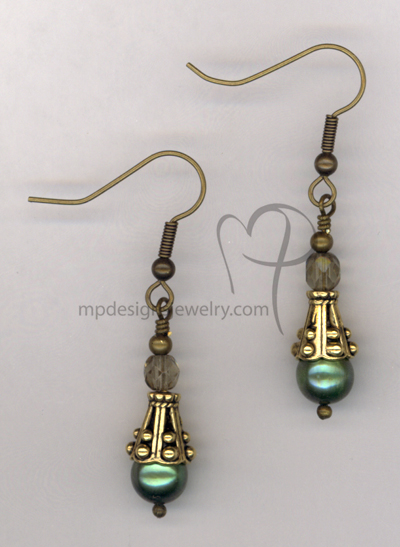 Green Pearl Antiqued Gold Crystal Earrings