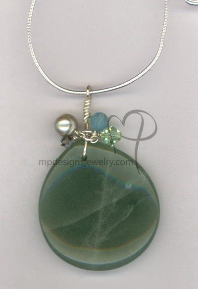 Avertine Gemstone Pendant Sterling Silver Necklace