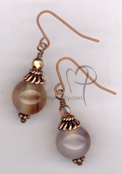 Fall In Love ~ Carnelian Gemstone Copper Earrings