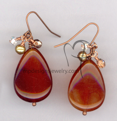 Fall In Love ~ Carnelian Teardrop Cluster Copper Earrings