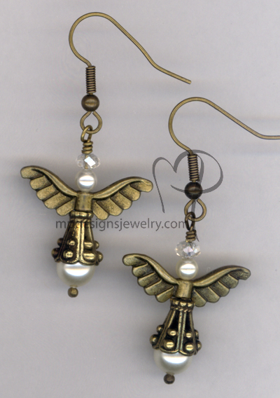 Angels Wings ~ Swarovski Creamy Crystal Pearl Antiqued Gold Earrings