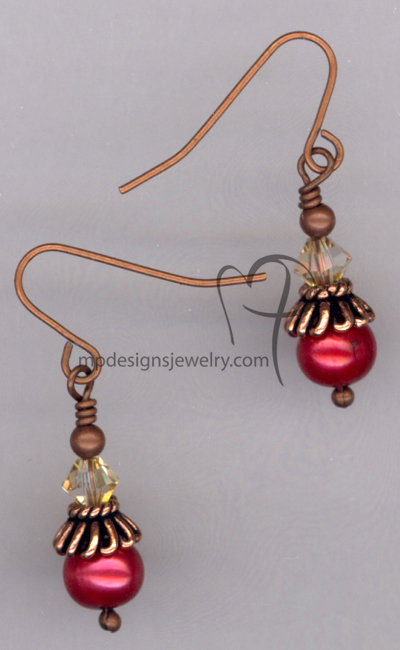 Cranberry Copper ~ Pearl Swarovski Crystal Earrings