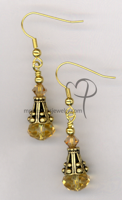 Golden Princess ~ Topaz Crystal Gold Earrings