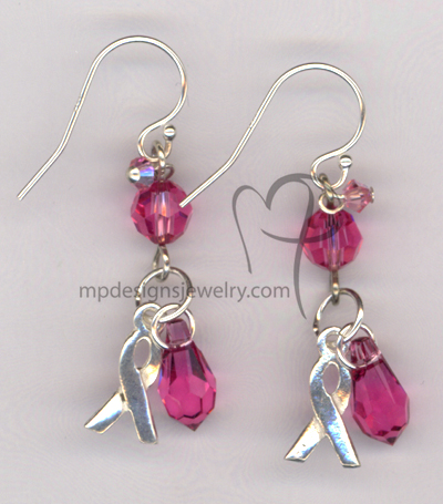 Awareness Ribbon Swarovski Crystal Sterling Silver Earrings